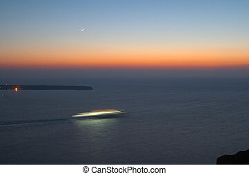 Criuse liner at the sunset and moonrise 2