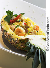 Pineapple Fried Rice - An exotic dish of seafood fried rice...