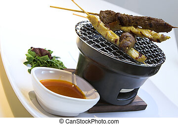 Beef and Chicken Satay with Peanut Sauce - Traditional...