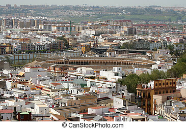 Bullring - Aerial view of rooftops and bullring in Seville,...