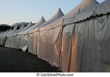 Tents lined up in a row