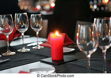candlelight Dinner - wineglasses beside a lit candle