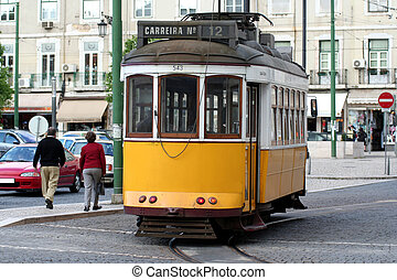 Retro Tramway - Vintage tramway in Lisbon Portugal
