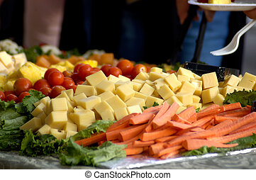Food - Cheese Tray - A cheese and vegetable tray.