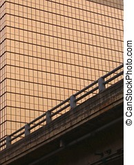 Inner City Scene - -- with a modern office building and a...