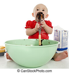 Baby Licking Cake Mixer - Adorable baby girl eating...