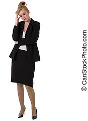Worried business woman - Attractive business woman with hand...