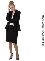 kvinna, affär, bekymrat