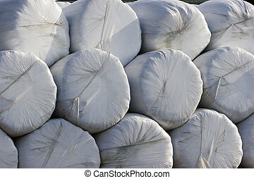 Stack of wrapped haybales
