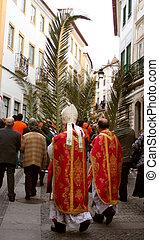 palm sunday procession in Evora, Portugal
