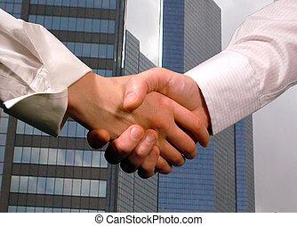 empresa / negocio, apretón de manos, mujer, hombre