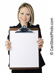 Woman Clipboard - Beautiful young business woman with clip...
