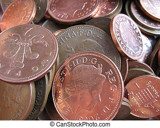 coppers - Close up of British one and two pence coins