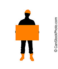 Construction Worker With Poster - Construction worker...