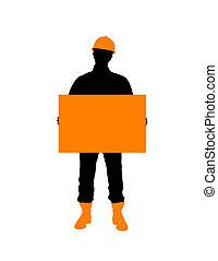 construção, trabalhador, com, cartaz