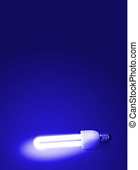 Fluorescent lamp with Blue background.