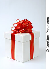 Present 1 - White fancy box with red ribbon present on white