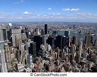 New York City Skyline - New York City with East River in...