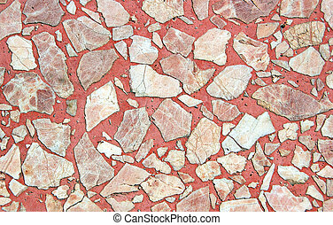 Red stone floor - Close-up of red chipstone floor