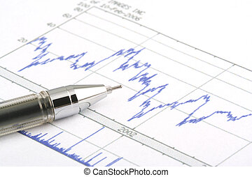 Ballpoint Pen on Stock Chart - Focus on the tip of the...