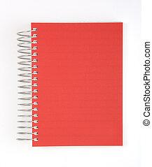 vermelho, caderno, isolado