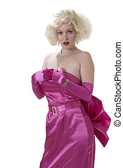 diamonds are a girls best friend - sexy woman in pink satin...