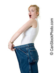 Wow I lost twenty pounds - Woman demonstrating weight loss...