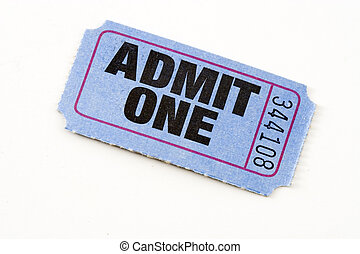 Admit ticket - Blue admit one ticket, isolated.