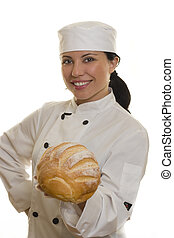Baker or Chef - A smiling chef holding a loaf of bread.