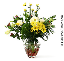 Garden flowers - A Transparent glass vase with flowers from...
