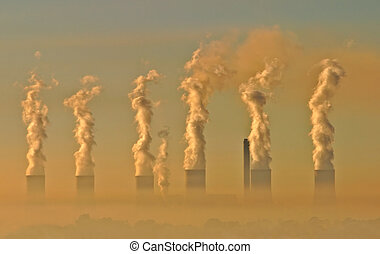 Industrial smog - Air pollution from an electricity...