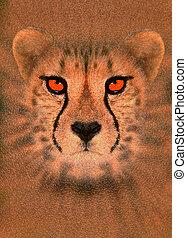 Enhanced cheetah - Digitally enhanced portrait of a cheetah