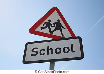 Caution school sign