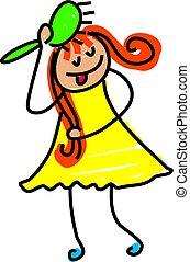 hairbrush kid - little girl brushing her hair - toddler art...