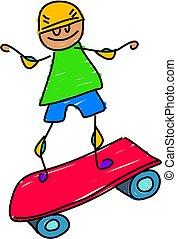 skateboard kid - little boy playing on a skateboard -...