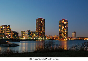Toronto condominiums - Condominiums at night in Toronto