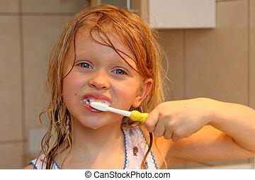 Brushing my teeth - Little girl brushing her teeth