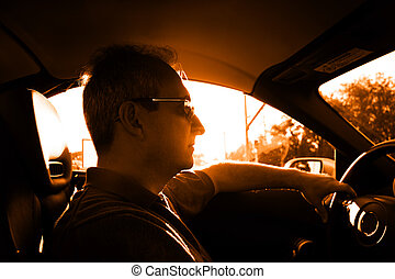 Driving - Mature man in the car