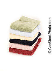 stacked towels isolated - stacked towels over white