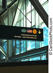 blaues, Flughafen, fenster, zeichen