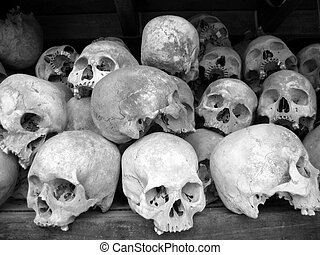 Human skulls in BW - Reminder of holocaust in Cambodia