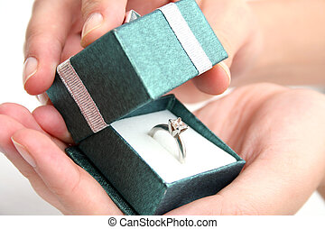 Proposal - Woman opening ring box