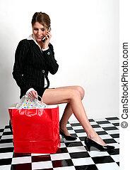 High-fashion shopper - Beautiful young woman in business...