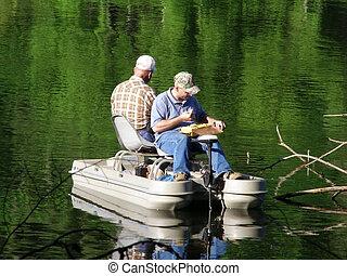 hombres, pesca, barco
