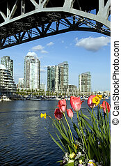 City in the spring - Vancouver downtown in April from...