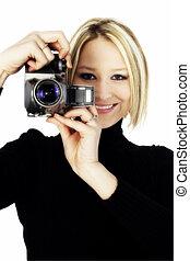 Woman Camera - Beautiful young woman aiming digital camera...