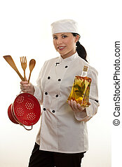 Kitchen hand or Chef - A kitchen hand or chef holding some...