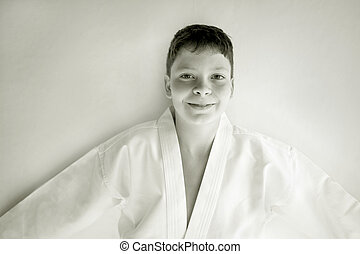 Tae Kwon Do - Photo of a boy in his Tae Kwon Do suite...