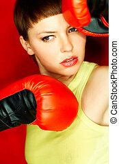 Red Boxer - Sexy female boxer with red gloves