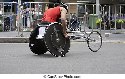 Wheelchair Athlete - Wheelchair athlete racing